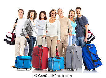 Happy tourist people . Isolated over white background