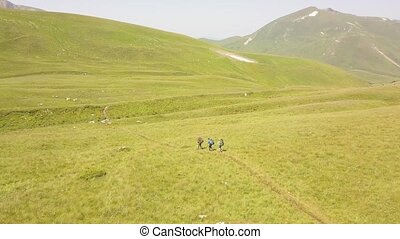 Tourist people hiking on summer meadow in green mountain valley aerial view