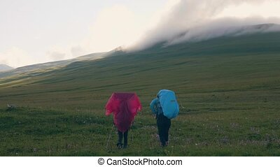 Tourist people walking on meadow in mountain valley and...