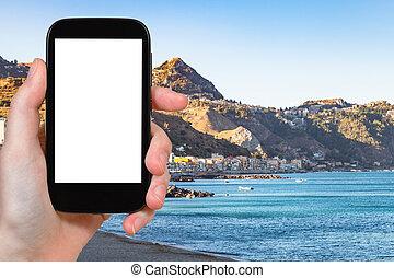 tourist photographs Giardini Naxos and Taormina - travel...