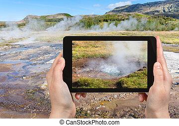 tourist photographs Haukadalur hot spring area - travel...