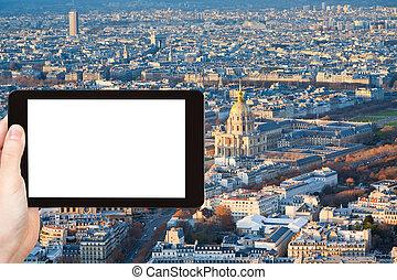 tourist photographs of panorama of Paris in winter