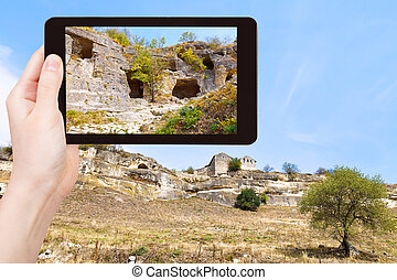 tourist photographs of town chufut-kale, Crimea - travel...