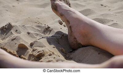 tourist., pieds, plages, catalonia., espagnol