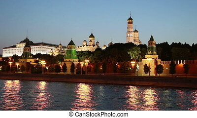 Tourist  pleasure boat on the Moskva River near the Kremlin (at night),  Moscow, Russia