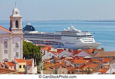 tourist, portugal, groß, stehen, lissabon, schiff, hafen