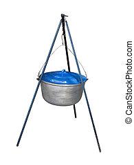 Tourist pot with blue cap hanging on tripod - Tourist pot...