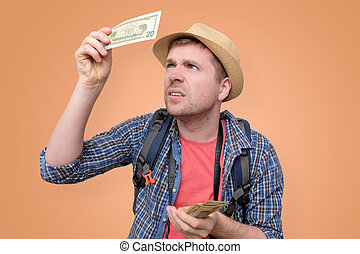 tourist, prüfung, hält, dollar, ihm, merkzettel, hut, bank