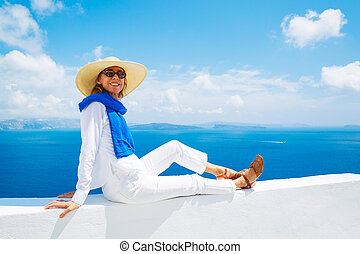 Tourist Relaxing on Vacation - Attractive Woman Relaxing on...