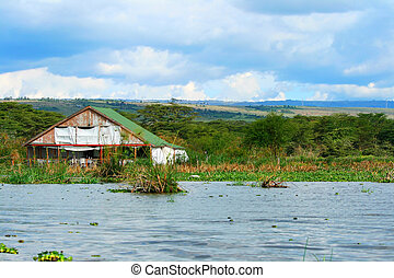 Tourist resort on the lake Naivasha. Africa. Kenya