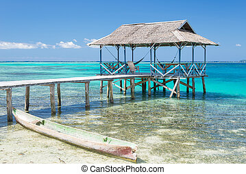 Tourist resort - Wooden jetty in a tourist resort of the ...