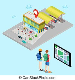 Tourist Searching Bus Station with Help of Mobile Navigation on Tablet. Isometric City. Vector illustration
