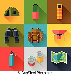 Tourist set of camping equipment icons in flat style