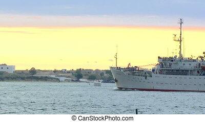 Tourist ship - Parade of the Navy.