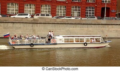 Tourist ship sail down the river