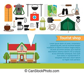 Tourist shop. Tourism equipment tools for hiking and trekking