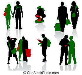Tourist - Silhouettes of tourists in different situation.