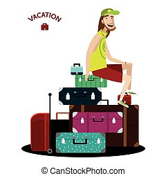 Tourist sitting on a luggage - Vector illustration on white...