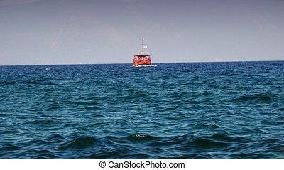 Tourist small ship in sea 4k - Touristic small ship in sea...