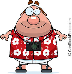 Tourist Smiling - A happy cartoon tourist standing and...