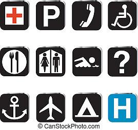 tourist, stellen, ikone, satz