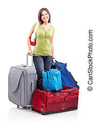 Tourist - Happy tourist woman . Isolated over white...