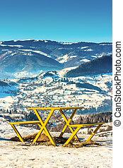 Tourist stop over mountain landscape