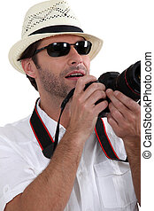 Tourist taking picture.