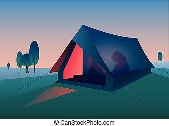 tourist tent at night