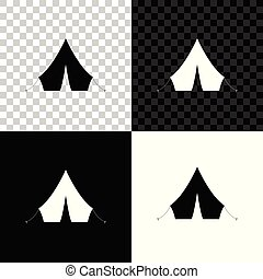 Tourist tent icon isolated on black, white and transparent background. Vector Illustration