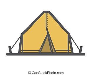 Tourist tent icon or logo, cartoon style vector