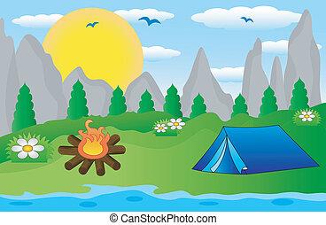 tourist tent on the riverside, vector illustration
