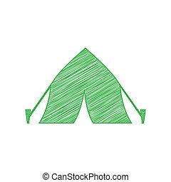 Tourist tent sign. Green scribble Icon with solid contour on white background. Illustration.