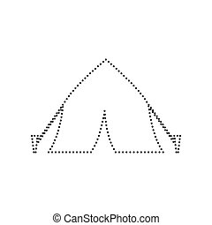 Tourist tent sign. Vector. Black dotted icon on white background. Isolated.