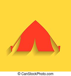 Tourist tent sign. Vector. Red icon with soft shadow on golden background.