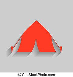 Tourist tent sign. Vector. Red icon with soft shadow on gray background.