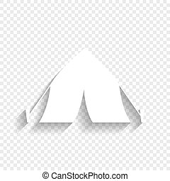 Tourist tent sign. Vector. White icon with soft shadow on transparent background.