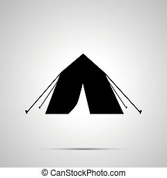 Tourist tent silhouette, simple black icon