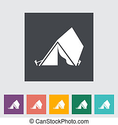 Tourist tent. Single flat icon. Vector illustration.
