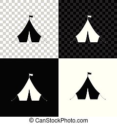 Tourist tent with flag icon isolated on black, white and transparent background. Vector Illustration