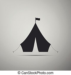 Tourist tent with flag icon isolated on grey background. Flat design. Vector Illustration