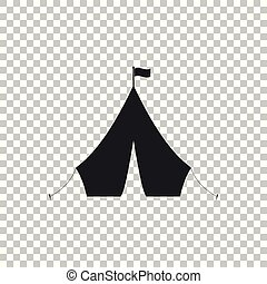 Tourist tent with flag icon isolated on transparent background. Flat design. Vector Illustration