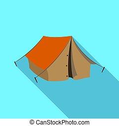 Tourist tent.African safari single icon in flat style vector symbol stock illustration web.
