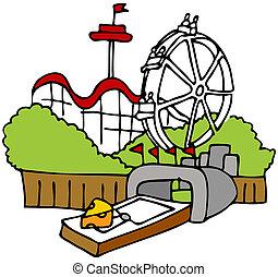 Tourist Trap - An image of a moustrap amusement park tourist...