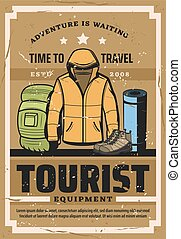 Tourist travel outfit and hiking sport equipment - Tourist...