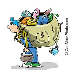 Tourist, traveler, climber, stands with a backpack. Backpack...