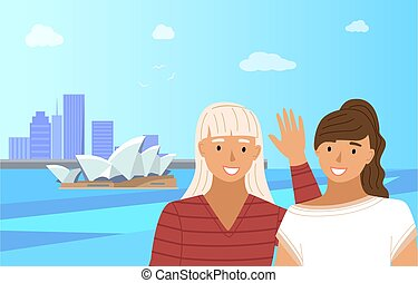 Tourist traveling in Australia. Two girls friends stand near the famous opera house in sydney