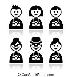 Tourist, travelling people icons - Vector icons set of...