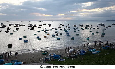 Tourist Vietnam. Fishing village in Mui Ne Full HD