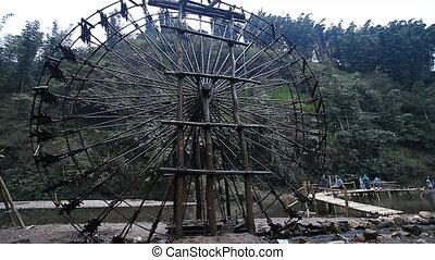Tourist Vietnam. Unique water wheels
